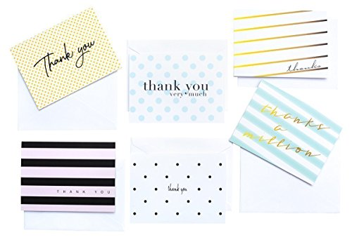 Modern Chic Thank You, 36 Thank You Cards 6 Designs Blank Inside with Envelopes (Multicolor) - Folded Notes Gift Box