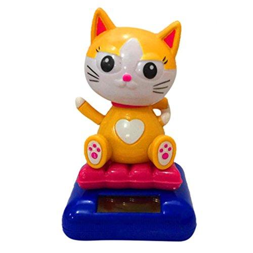 Oksale Merry Chrimas Cute Dog Cat Shape Solar Powered Dancing Swinging Animated Bobble Car Decoration Toy (E)