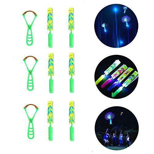 Budlion Amazing Slingshot LED Light Copters Kids Finger Rocket Toys (6PCS-Green)