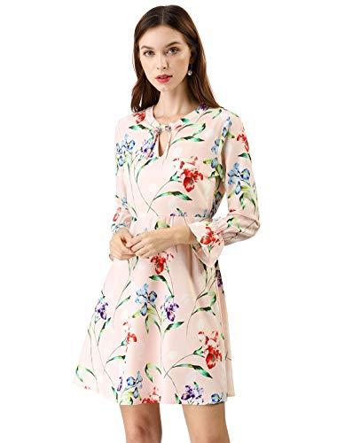 Ruffle Dress Prairie - Allegra K Women's V Neck Bracelet Sleeves Vintage Floral Print Casual A-Line Dress XS Pink