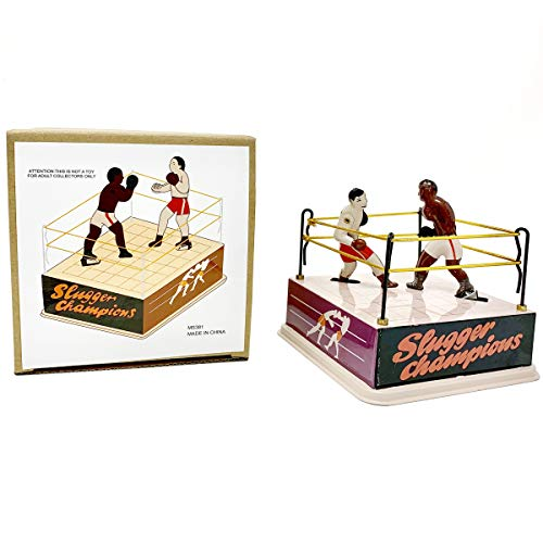 Classic Vintage Clockwork Wind Up Boxing Ring Boxers Children Kids Tin Toys with Key -