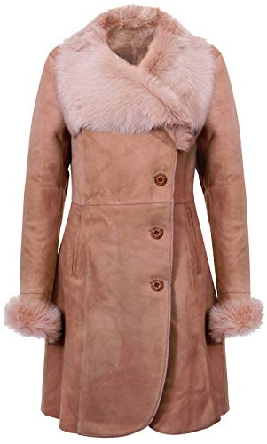Infnity Leather Ladies Warm Beige Suede Merino Shearling Sheepskin Coat Toscana Collar L