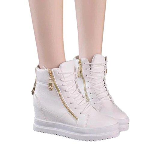Shoes in Zipper Donna a Autumn Cerniera Rome Vita Scarpe Alta Boots Ankle Piatto Leey Stivali Toe da Round Donna Scarpe a Bassi Stivali Singole Pelle con Chelsea Short Casual Bianco Fondo zPwaZF