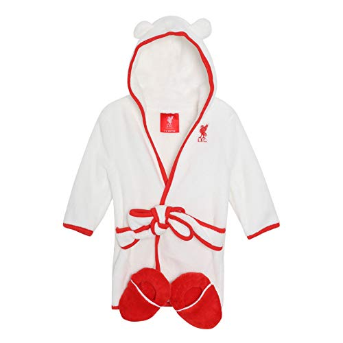 Liverpool FC White Baby Boy Football Dressing Gown & Slipper Set AW 18/19 LFC Official