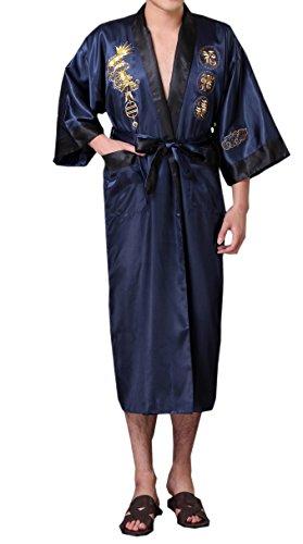 - SexyTown Long Satin Lounge Bathrobe Classic Print Kimono Bobe Nightgown Medium Blue-Black(Reversible)