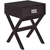 Joveco Modern End Table Nightstand with Drawer and Cross Leg (Expresso)