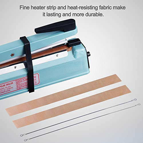 Fuxury 12 inch Impulse Heat Sealer Used Pure Copper Transformer,Manual Bag Sealer Heat Seal Closer + 2 Free Replacement KIT (Blue, 12'') by Fuxury (Image #3)