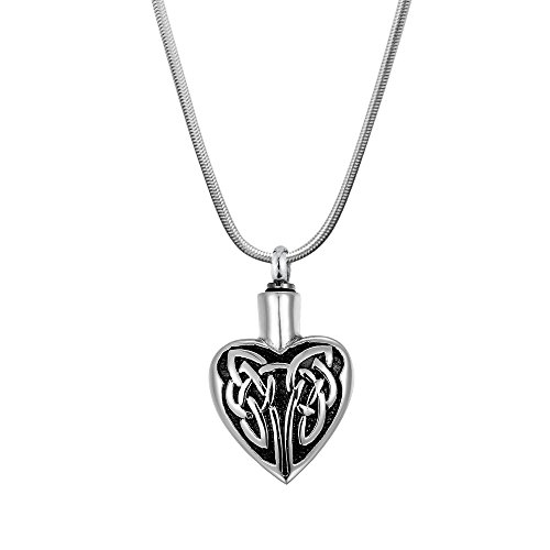 Anavia Vintage Heart Stainless Steel 316L Cremation Memorial Jewelry Urn Ash Holder Pendant Necklace (Celtic Knot Heart)