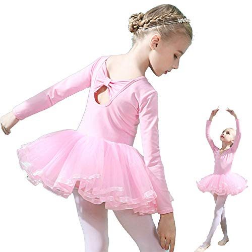 Hesuimaoyi Girls Ballet Tutu Slim Dance Leotards Dress Long Sleeve Soft Cotton with Back Bowknot for Dancing Athletic Skirt Pink Size 110]()