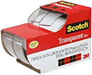 Scotch Brand Transparent Tape, Standard Width, Engineered for Office and Home Use, Glossy Finish, 3/4 x 250 In