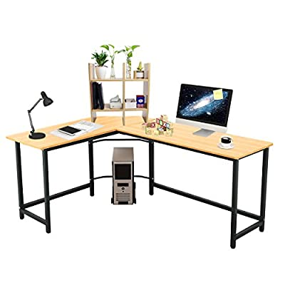 "Elevens 66""x 50"" Modern L-Shaped Desk Home Office Corner Computer Desk PC Laptop Solid Support Writing Studying Table Sturdy Workstation (Maple) - 【L-SHAPED CORNER DESIGN】- wide desktop & space saving, provides a surprisingly large amount of working area. You will have plenty of surface space for writing, computer work and other home or office activities. 【High Quality Material】- the panel is made of particle wood with high glossy and smooth finish, it is very safe and comfort to use. Durability is the key construction of this desk, the desk frame utilizes heavy-duty and powder-coated metal materials, which ensures excellent stability and durability. 【Free Desktop Rack & CPU Stand】- you will get one desktop rack 2 tiers which you can put all your office accessories on it, it can keep you table tidy and keep all you daily use within your reach. It's also an magazine rack if you have many books or working papers. There is also one CPU stand with wheels, easy to move, convenient to use. - writing-desks, living-room-furniture, living-room - 41wJhHeL DL. SS400  -"