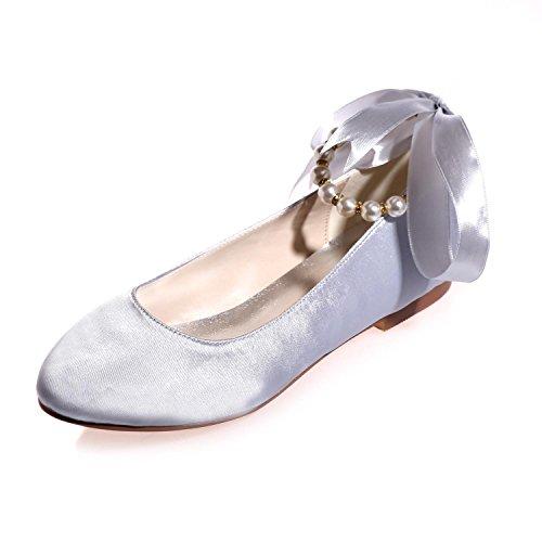 L@YC Zapatos De Boda De La Mujer Primavera Verano OtoñO Boda De La Tarde Y Bajo Con Grandes Jardines Gray