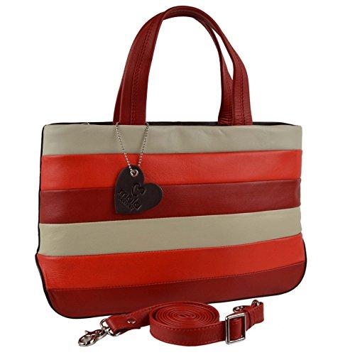 Mala Sac à main en cuir Femme Rouge Marine Multi Medium Marron