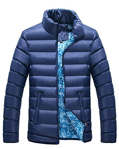 Young Saphirblau Zipper Casual Pockets Jackets Stand Coat Coat Outerwear Side with Men's Fashion Collar Down Outwear Jacket UxvaqnY