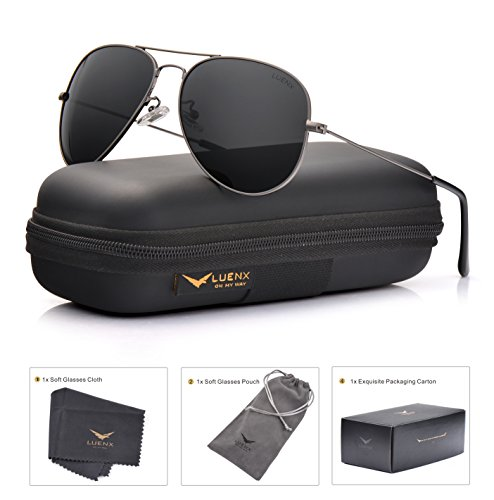 LUENX Men Women Aviator Sunglasses Grey Polarized Non-Mirrored Metal Frame - UV 400 60MM with Accessories Classic - Without Glare Sunglasses
