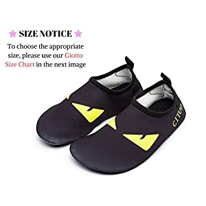 Giotto Kids Non Slip Barefoot Water Shoes Aqua Socks For Swim Beach Pool (Toddler/Little Kid/Big Kid), H1, Black, 24-25