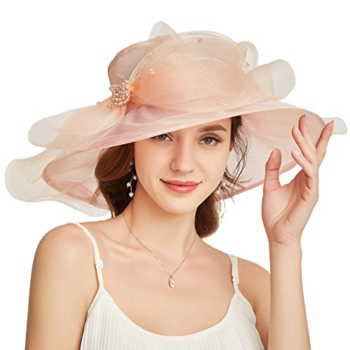 Go Mai Accessories Women's Organza Kentucky Derby Hat Fashion New Ladies Multicolor Elegant Personality Sun Hat Pink