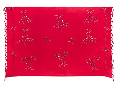Sarong Pareo Dhoti Lunghi ca. 170cm x 110cm Rot mit Blumen Motiv Handgefertigt