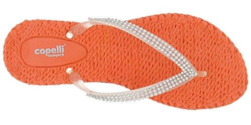 con para York diamantes mujer de transparente de Flop Flip Capelli adornos tanga Coral imitación Nueva xa4qBBH