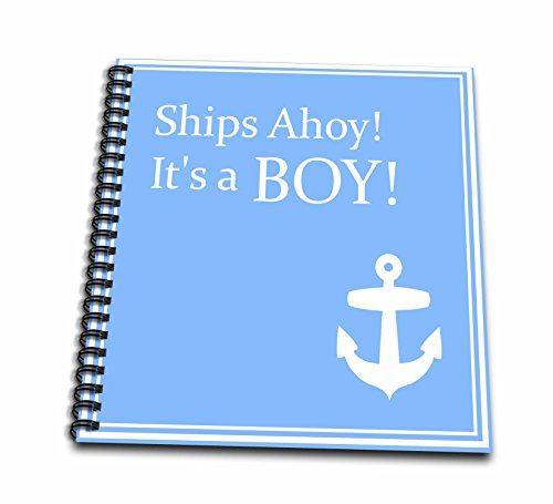 3dRose db_151388_1 Ships Ahoy its a Boy-for Baby Showers-Light Powder Blue with White Anchor Sailor Nautical Theme-Drawing Book, 8 by 8-Inch ()