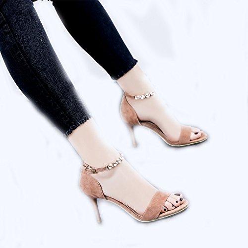 Hyun times レトロなピンクの夏のサンダルは、セクシーなバックルの女性の靴に暴露された足のハイヒール