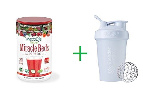 Macrolife Naturals, Miracle Reds, Superfood, Goji-Pomegranate-Acai-Mangosteen, 10 oz (283.5 g) + Sundesa, BlenderBottle, Classic With Loop, White, 20 oz by Macrolife Natural