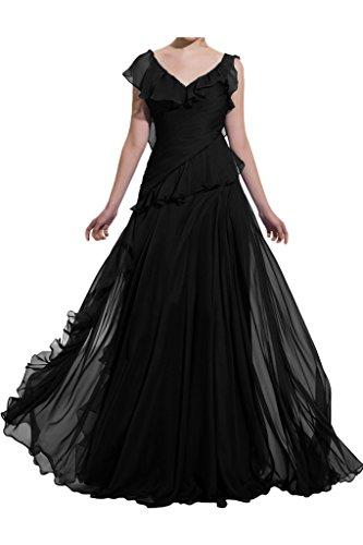 Schwarz Linie Promkleid V Ausschnitt Festkleid Abendkleid A Partykleid Ballkleid Stilvoll Damen Chiffon Ivydressing zq7SEXxw