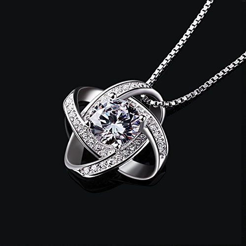 B.Catcher Silver Necklace Womens 925 Silver Cubic Zirconia Pendant Gemini Necklace Mother's Day Gift by B.Catcher (Image #2)