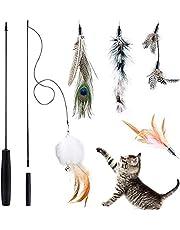 Queta Kattfjäderleksak, kattleksak, interaktiv infällbar fiskespöleksak med 5 påfyllningar för katter och kattungar