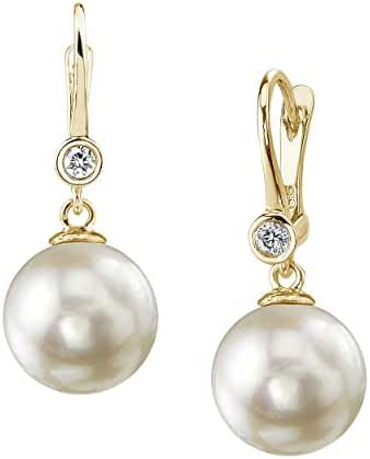 14K Gold White Akoya Cultured Pearl & Diamond Michelle Earrings