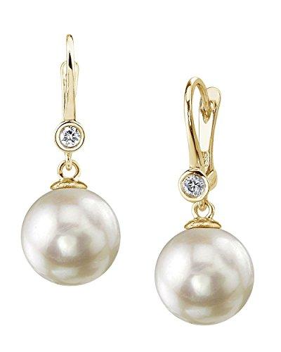 (14K Gold 8.5-9.0mm White Akoya Cultured Pearl & Diamond Michelle Earrings)
