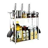 White Multi-Function Stainless Steel Kitchen Microwave Oven Racks Storage Rack 2-Tier Adjustable with Hook Bottle Holder Seasoning Rack Oven Shelves Floor-Mounted Shelf (Size:40-65cm)