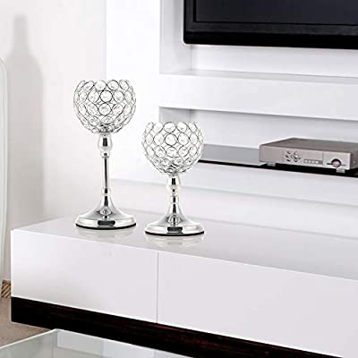 6 Clear Glass Tea Light Candle Holders on Silver Tray Plinth Table Centrepiece