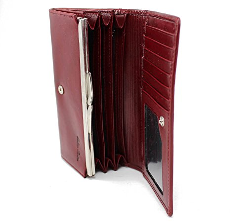 Zenyetti Handcrafted Premium Italian Leather Womens Wallet, Fashioned as a Medium Clutch (Burgundy)