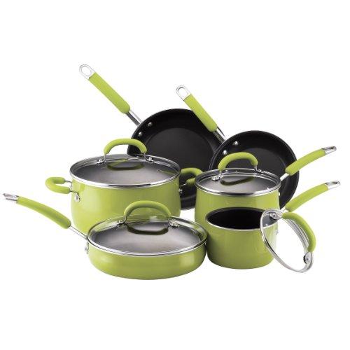 Rachael Ray Porcelain Enamel Nonstick 10-Piece Cookware Set, Green