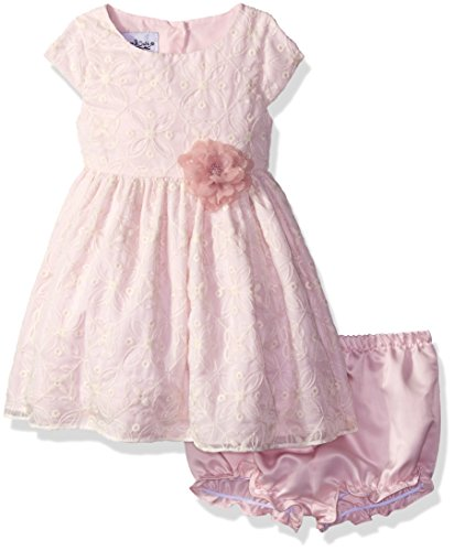 Pippa & Julie Baby Girls' Cap Sleeve Dress with Waist Corsage, Pink Embroidery, 12 ()
