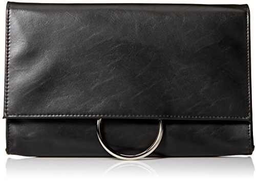 Clutch Leather Vegan - Jessica McClintock Nora Solid Large Envelope Clutch with Ring Closure, Black