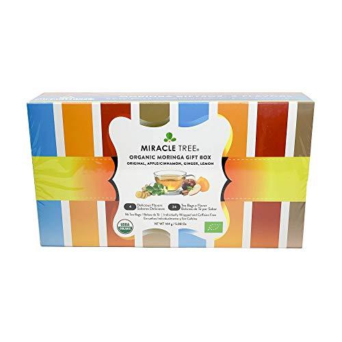 (Miracle Tree - Gift Box with Organic Moringa Superfood Tea, 96 Individually Sealed Tea Bags (4 Flavors: Original, Apple/Cinnamon, Ginger, & Lemon) )