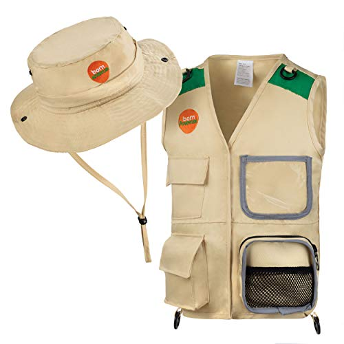 Explorer and Safari costume Cargo Vest and Hat Set for Kid Explorer and Outdoor Dress up and Role Play-Great for HALLOWEEN, Park Ranger, Paleontologist, Zoo Keeper Costume and kids fishing ()