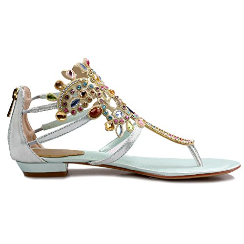 Womens Sandals Rhinestone Genuine Blue Flats AIWEIYi Beach Leather Gladiator Thong Sandals Bohemian CXqxSvd