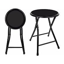 "18"" Premium Lightweight Black Folding Cushioned Stool Outdoor Indoor Barstool Chair (Single Pack)"