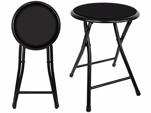 18'' Premium Lightweight Black Folding Cushioned Stool Outdoor Indoor Barstool Chair (Single Pack) by Unique Imports