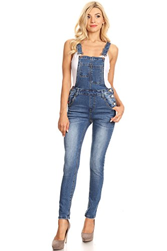 Spandex Overalls (K's more Women's Juniors Fitted Denim Overalls With Front Pocket (13))