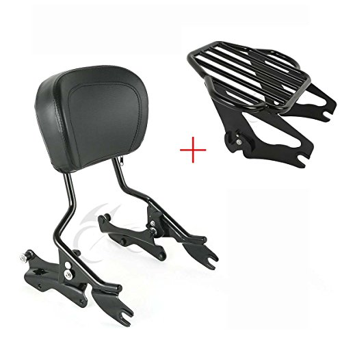 (XFMT Sissy Bar Luggage Rack Backrest & Docking Kit Compatible with Harley Road King 14-18)
