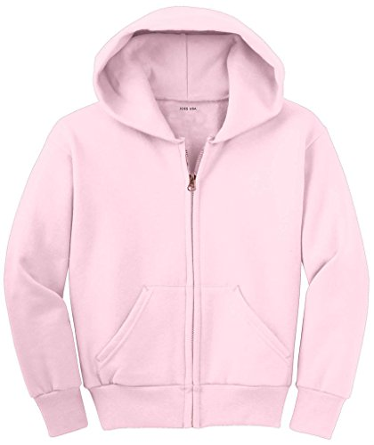 Joe's USA - Youth Full-Zip Hooded Sweatshirt-PalePink-XL ()