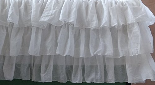 White Voile Layered Crib Skirt 16 Inch Drop 3 (Tiered Trim)