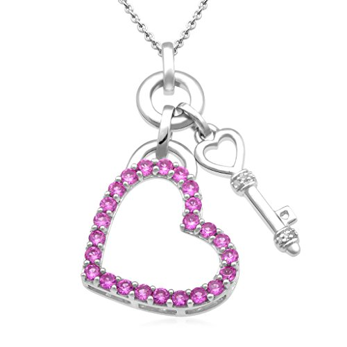 (Jewelili Sterling Silver Created Pink Sapphire with Diamond Accent Heart Key Pendant Necklace, 18