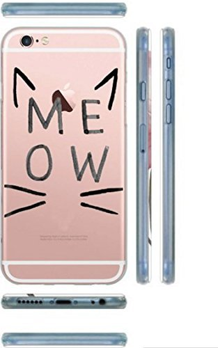 iPhone 6 / 6s, Colorful Rubber Flexible Silicone Case Bumper for Apple Clear Cover - Meow Cat Lover Ears