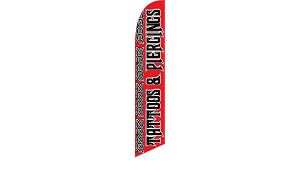 TATTOOS AND PIERCINGS Swooper Banner Feather Flutter Curved Top Flag Sign