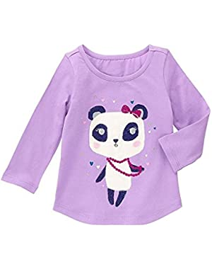 Girls Clothing Violet Shirt with Cat and Jack Gray Sparkly Joggers 12 months